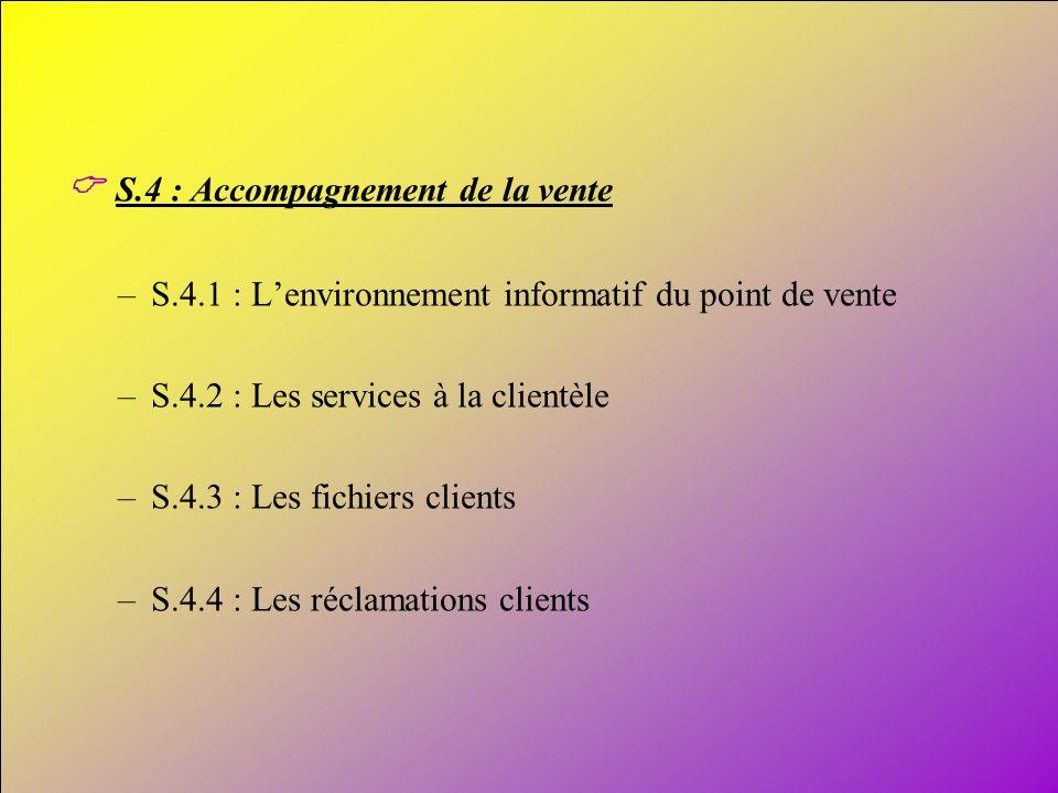 14 S.4 : Accompagnement de la vente –S.4.1 : Lenvironnement informatif du point de vente –S.4.2 : Les services à la clientèle –S.4.3 : Les fichiers cl
