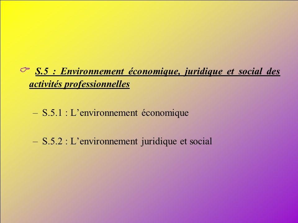 15 S.5 : Environnement économique, juridique et social des activités professionnelles –S.5.1 : Lenvironnement économique –S.5.2 : Lenvironnement jurid