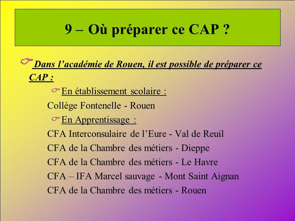 20 9 – Où préparer ce CAP ? Dans lacadémie de Rouen, il est possible de préparer ce CAP : En établissement scolaire : Collège Fontenelle - Rouen En Ap
