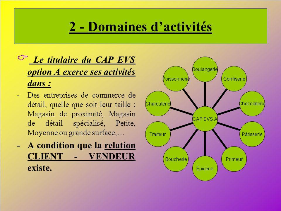 4 2 - Domaines dactivités Le titulaire du CAP EVS option A exerce ses activités dans : -Des entreprises de commerce de détail, quelle que soit leur ta