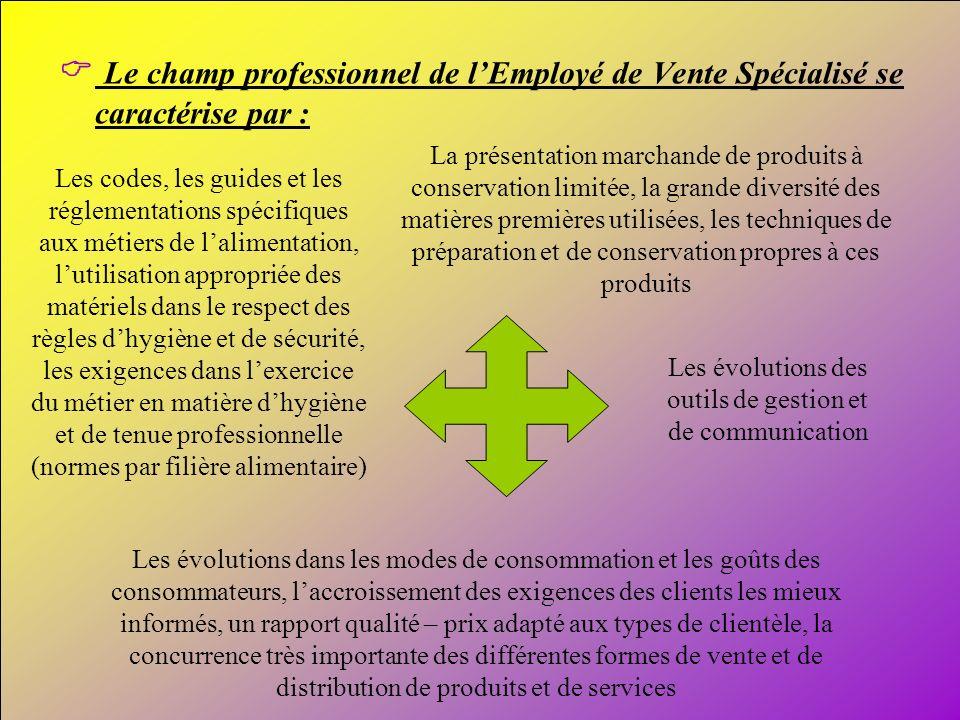 6 Le champ professionnel de lEmployé de Vente Spécialisé se caractérise par : Les évolutions des outils de gestion et de communication Les évolutions