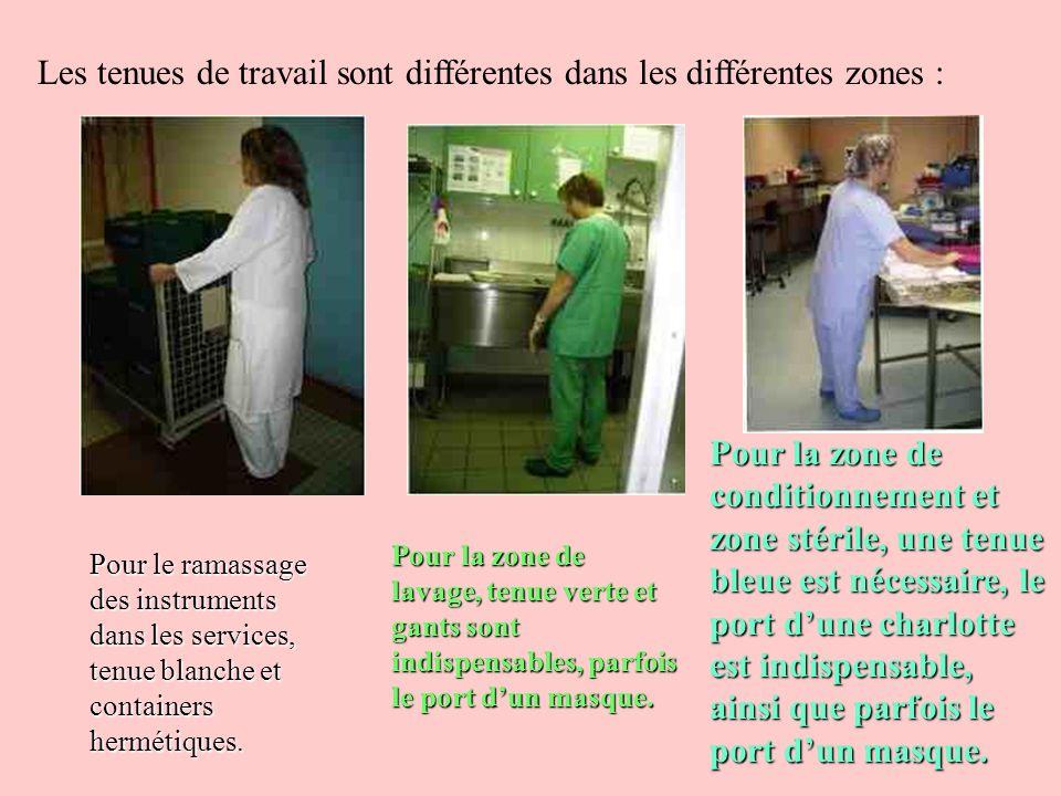 Un service de stérilisation utilise le principe de la marche en avant, sans retour en arrière possible : le matériel sale ne croise jamais le matériel