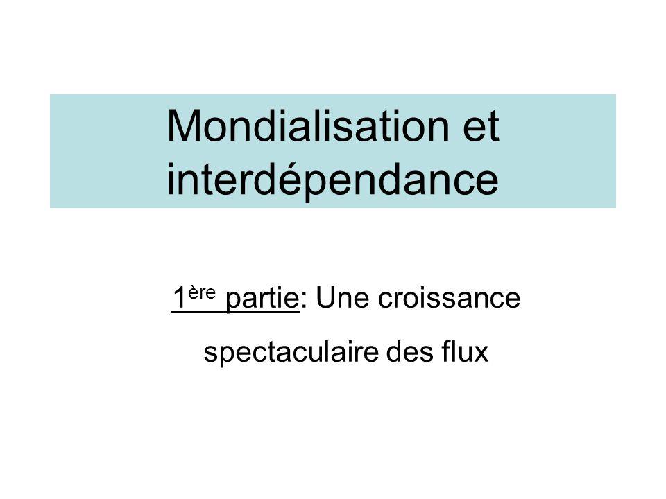 Mondialisation et interdépendance 1 ère partie: Une croissance spectaculaire des flux