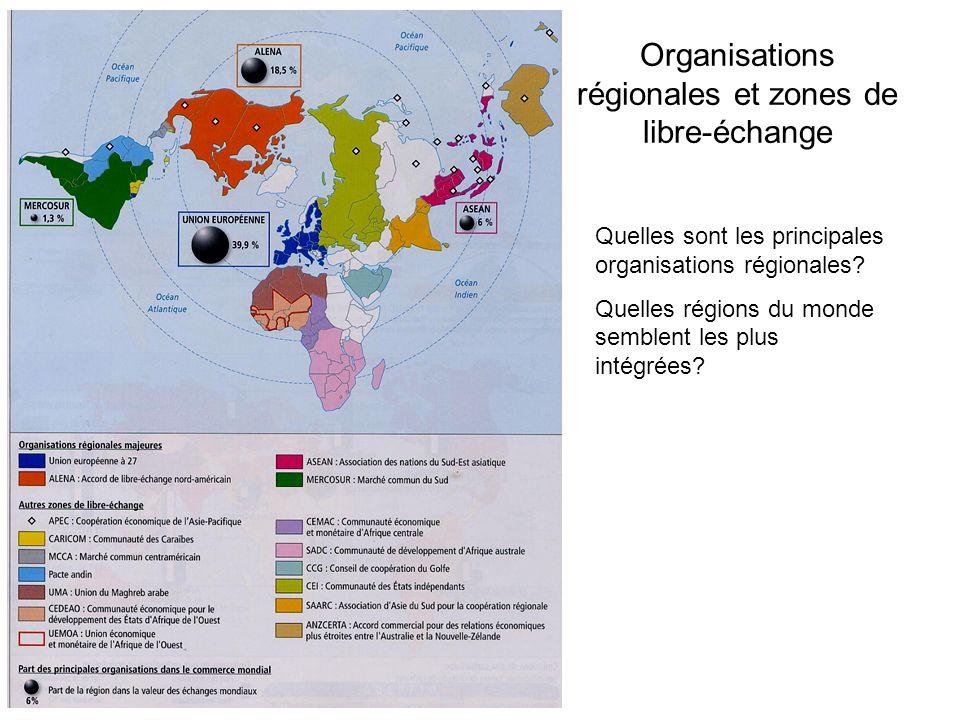 Organisations régionales et zones de libre-échange Quelles sont les principales organisations régionales? Quelles régions du monde semblent les plus i