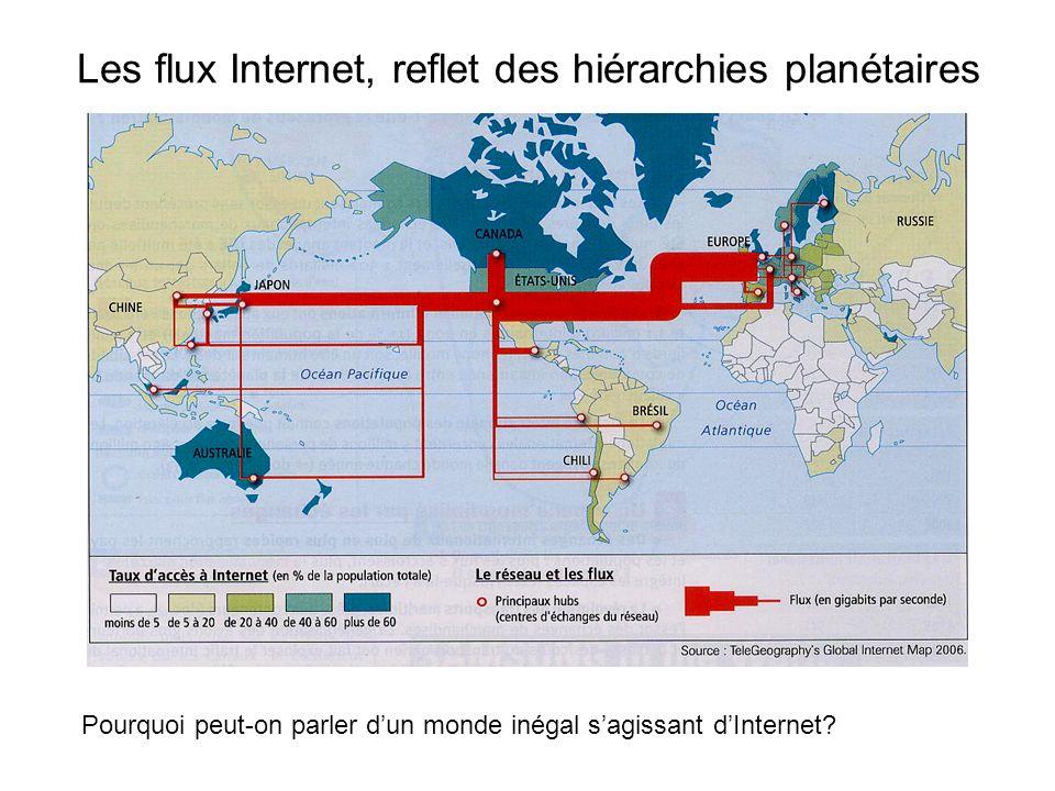 Les flux Internet, reflet des hiérarchies planétaires Pourquoi peut-on parler dun monde inégal sagissant dInternet?