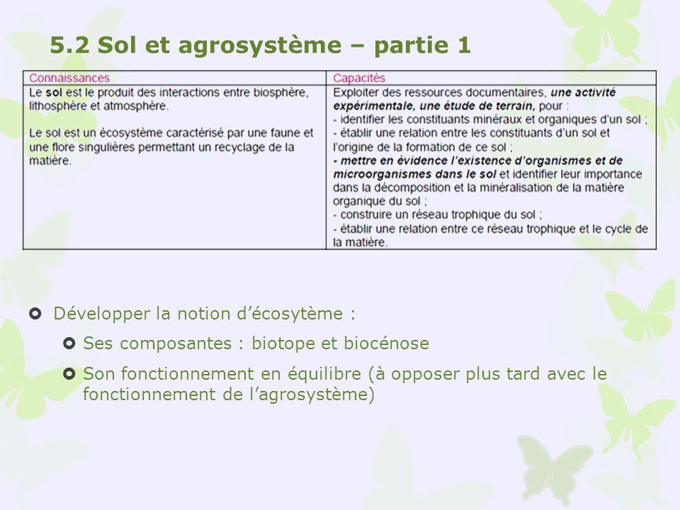 Développer la notion décosytème : Ses composantes : biotope et biocénose Son fonctionnement en équilibre (à opposer plus tard avec le fonctionnement d