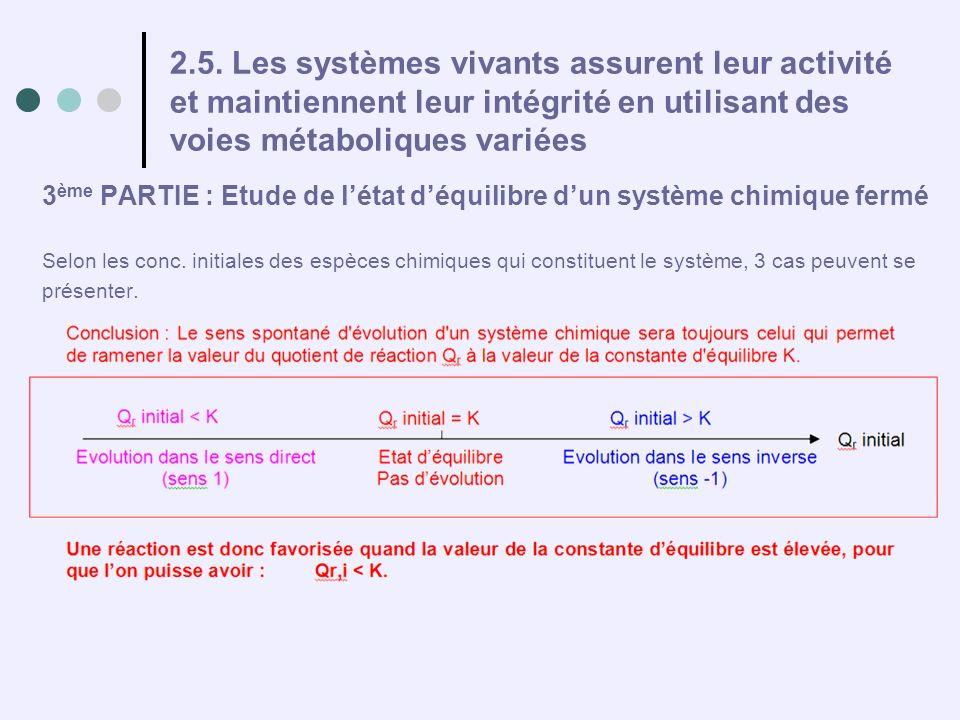 2.5. Les systèmes vivants assurent leur activité et maintiennent leur intégrité en utilisant des voies métaboliques variées 3 ème PARTIE : Etude de lé