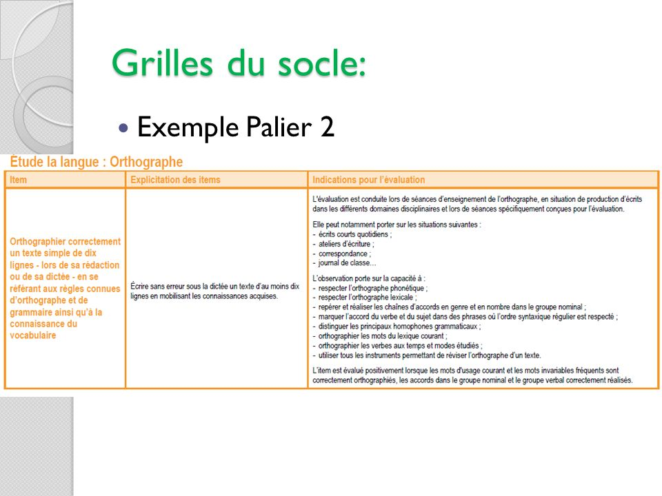 Grilles du socle: Exemple Palier 2