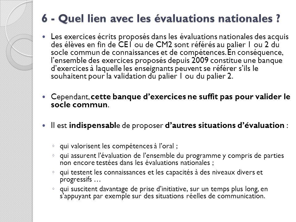 6 - Quel lien avec les évaluations nationales ? Les exercices écrits proposés dans les évaluations nationales des acquis des élèves en fin de CE1 ou d