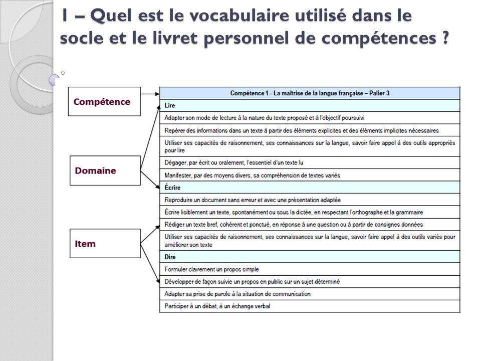 1 – Quel est le vocabulaire utilisé dans le socle et le livret personnel de compétences ?