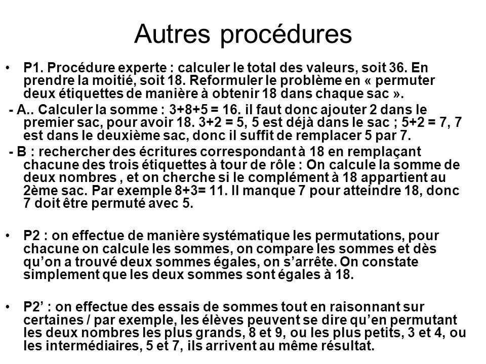 Autres procédures P1. Procédure experte : calculer le total des valeurs, soit 36. En prendre la moitié, soit 18. Reformuler le problème en « permuter
