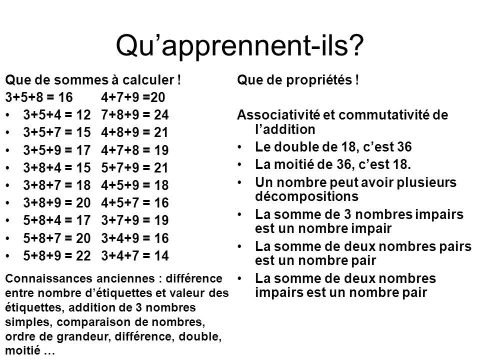 Quapprennent-ils? Que de sommes à calculer ! 3+5+8 = 164+7+9 =20 3+5+4 = 127+8+9 = 24 3+5+7 = 154+8+9 = 21 3+5+9 = 174+7+8 = 19 3+8+4 = 155+7+9 = 21 3