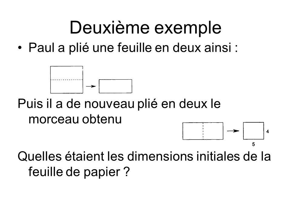 Deuxième exemple Paul a plié une feuille en deux ainsi : Puis il a de nouveau plié en deux le morceau obtenu Quelles étaient les dimensions initiales