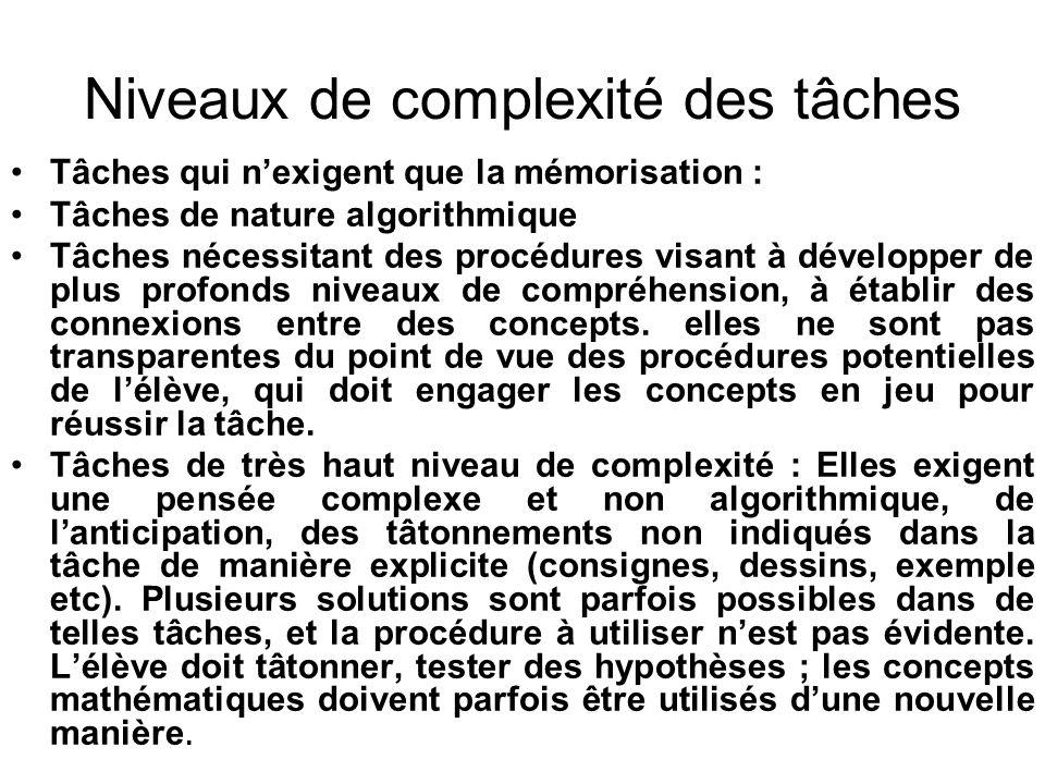 Niveaux de complexité des tâches Tâches qui nexigent que la mémorisation : Tâches de nature algorithmique Tâches nécessitant des procédures visant à d