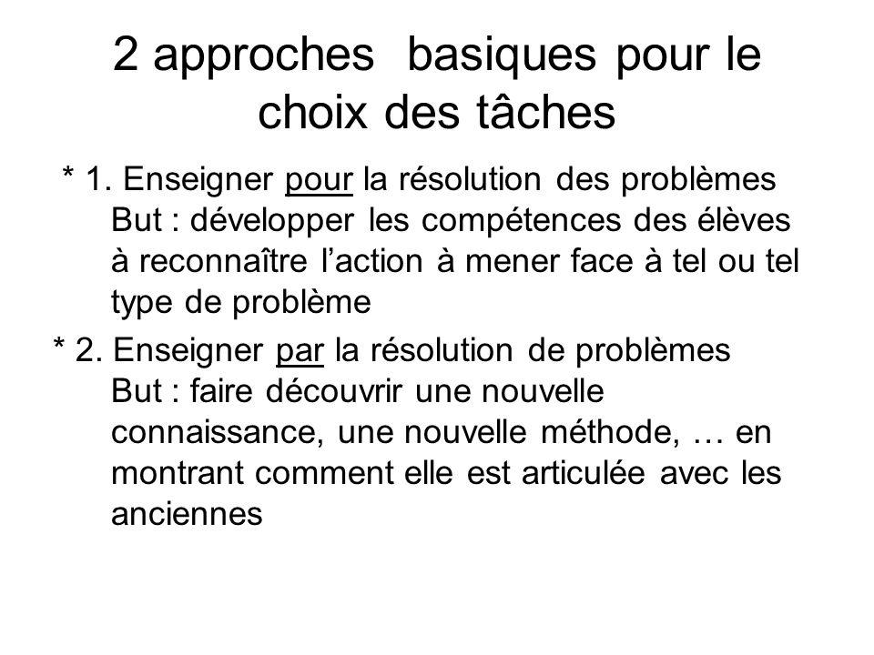 2 approches basiques pour le choix des tâches * 1. Enseigner pour la résolution des problèmes But : développer les compétences des élèves à reconnaîtr