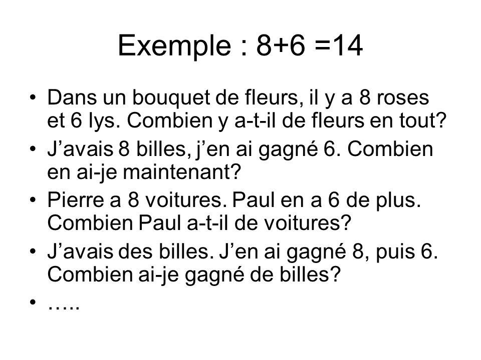Exemple : 8+6 =14 Dans un bouquet de fleurs, il y a 8 roses et 6 lys. Combien y a-t-il de fleurs en tout? Javais 8 billes, jen ai gagné 6. Combien en