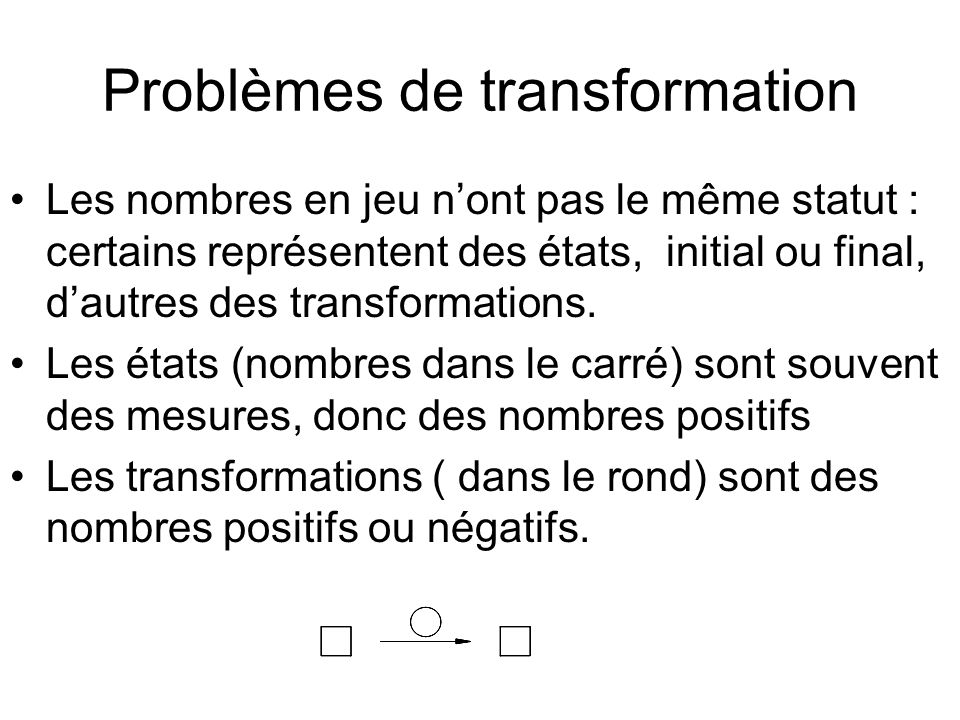 Problèmes de transformation Les nombres en jeu nont pas le même statut : certains représentent des états, initial ou final, dautres des transformation