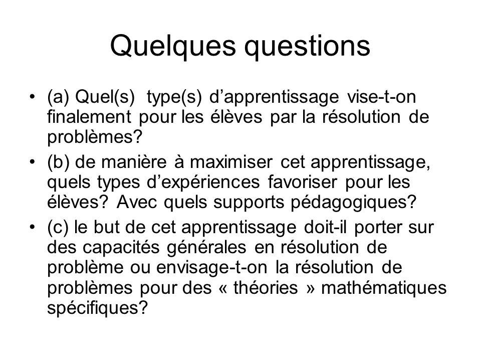 Quelques questions (a) Quel(s) type(s) dapprentissage vise-t-on finalement pour les élèves par la résolution de problèmes? (b) de manière à maximiser