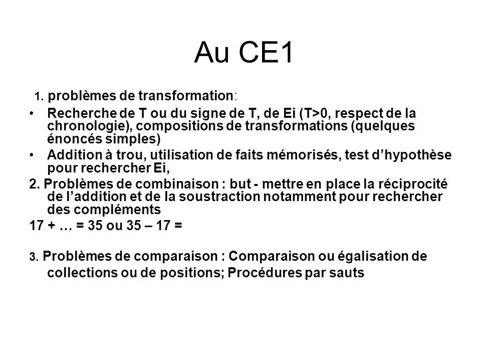 Au CE1 1. problèmes de transformation: Recherche de T ou du signe de T, de Ei (T>0, respect de la chronologie), compositions de transformations (quelq