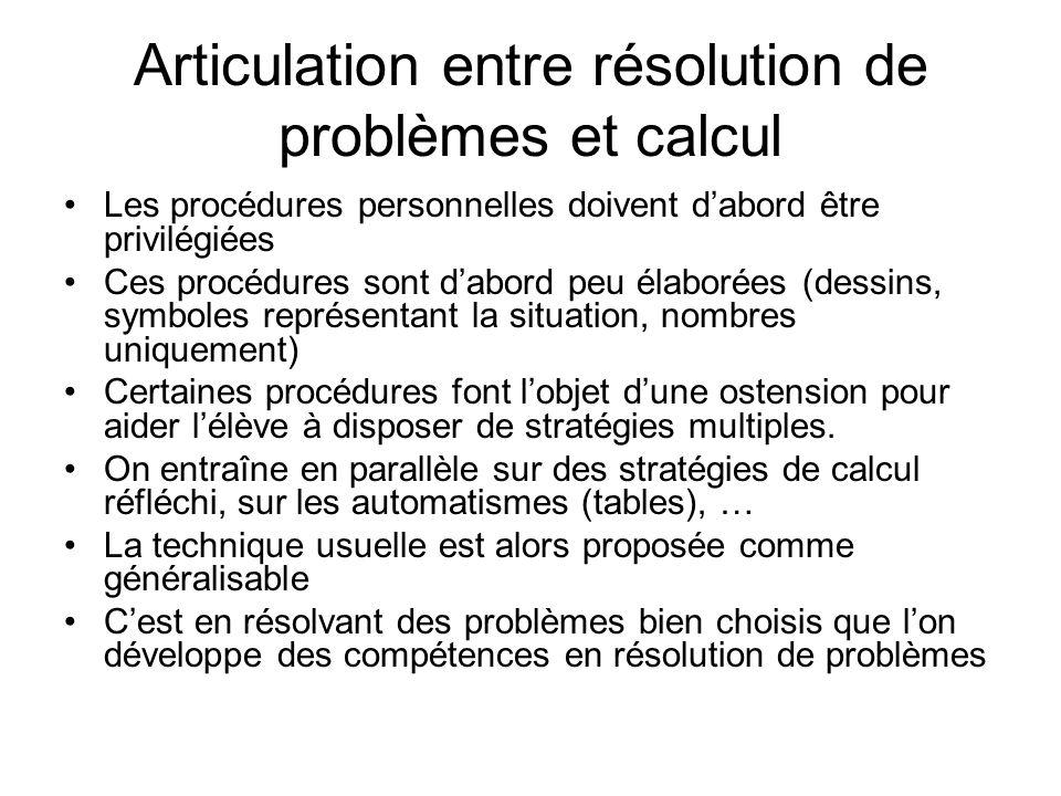 Articulation entre résolution de problèmes et calcul Les procédures personnelles doivent dabord être privilégiées Ces procédures sont dabord peu élabo