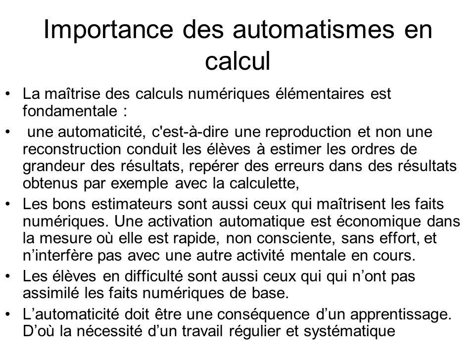 Importance des automatismes en calcul La maîtrise des calculs numériques élémentaires est fondamentale : une automaticité, c'est-à-dire une reproducti
