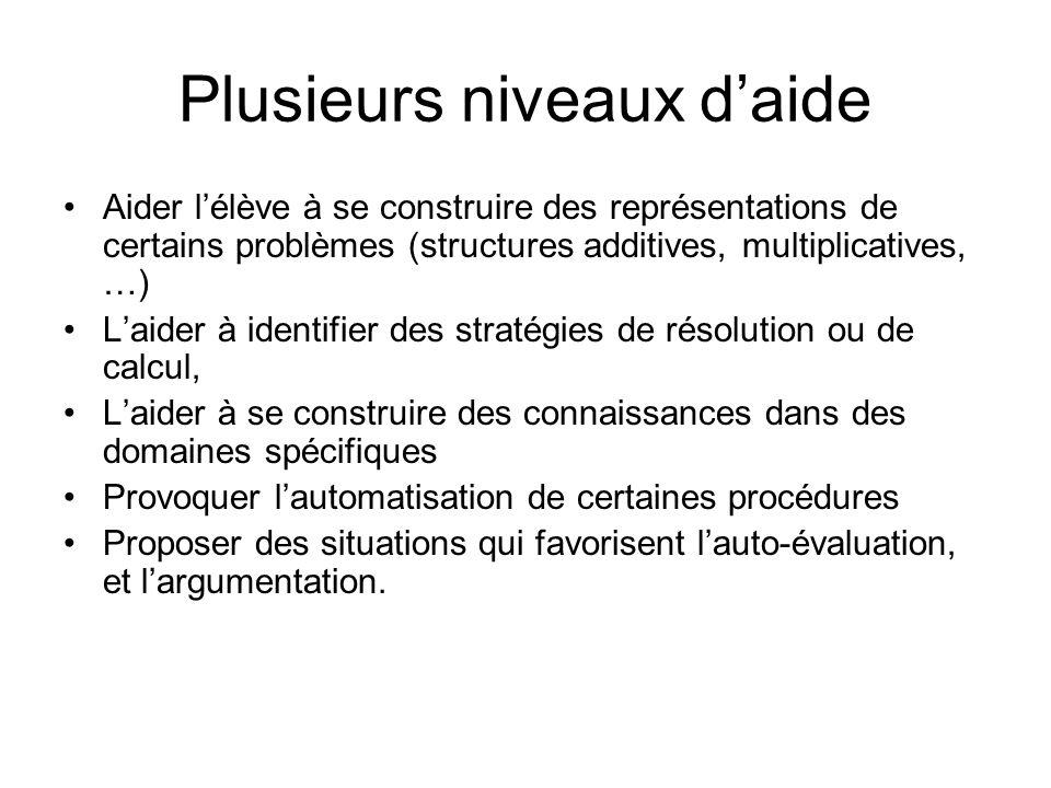 Plusieurs niveaux daide Aider lélève à se construire des représentations de certains problèmes (structures additives, multiplicatives, …) Laider à ide