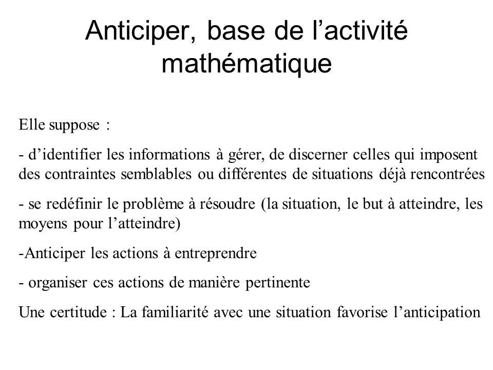 Anticiper, base de lactivité mathématique Elle suppose : - didentifier les informations à gérer, de discerner celles qui imposent des contraintes semb