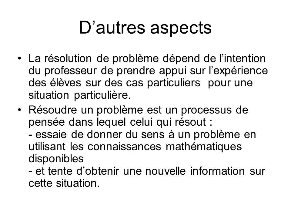 Dautres aspects La résolution de problème dépend de lintention du professeur de prendre appui sur lexpérience des élèves sur des cas particuliers pour