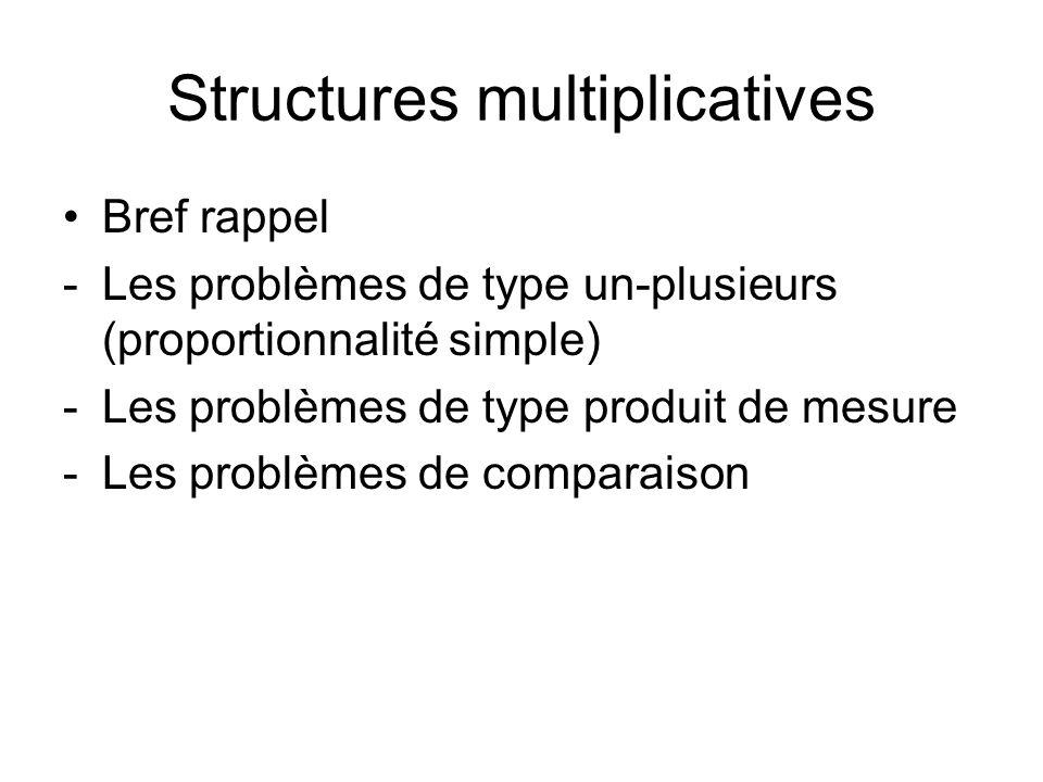 Structures multiplicatives Bref rappel -Les problèmes de type un-plusieurs (proportionnalité simple) -Les problèmes de type produit de mesure -Les pro