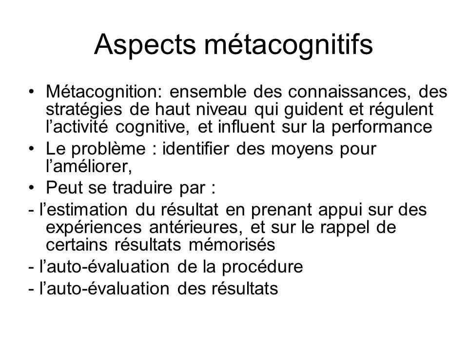 Aspects métacognitifs Métacognition: ensemble des connaissances, des stratégies de haut niveau qui guident et régulent lactivité cognitive, et influen