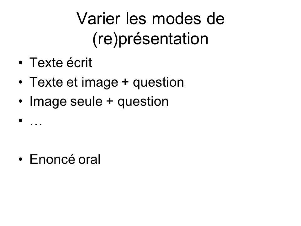 Varier les modes de (re)présentation Texte écrit Texte et image + question Image seule + question … Enoncé oral