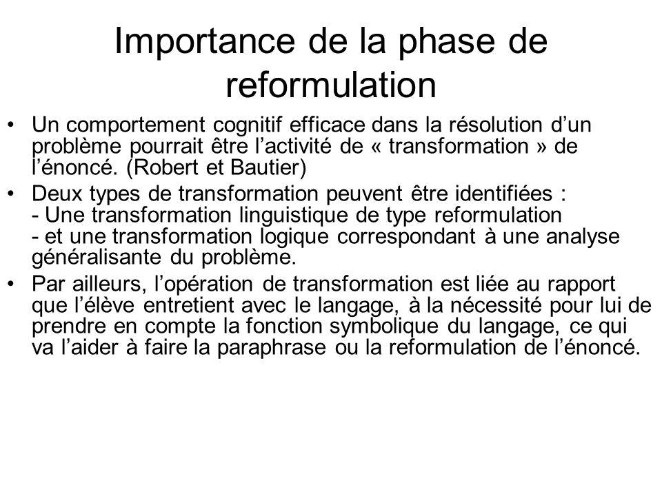 Importance de la phase de reformulation Un comportement cognitif efficace dans la résolution dun problème pourrait être lactivité de « transformation