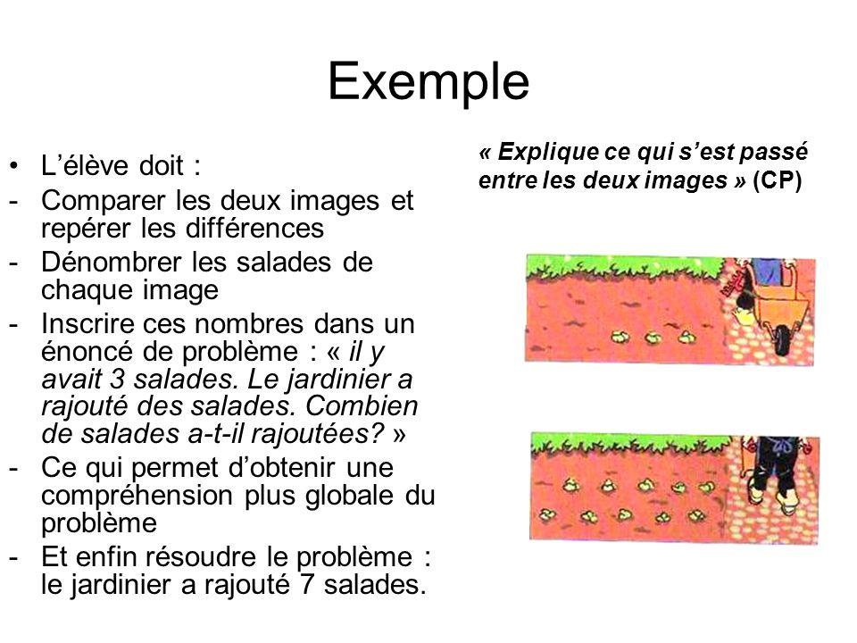 Exemple Lélève doit : -Comparer les deux images et repérer les différences -Dénombrer les salades de chaque image -Inscrire ces nombres dans un énoncé