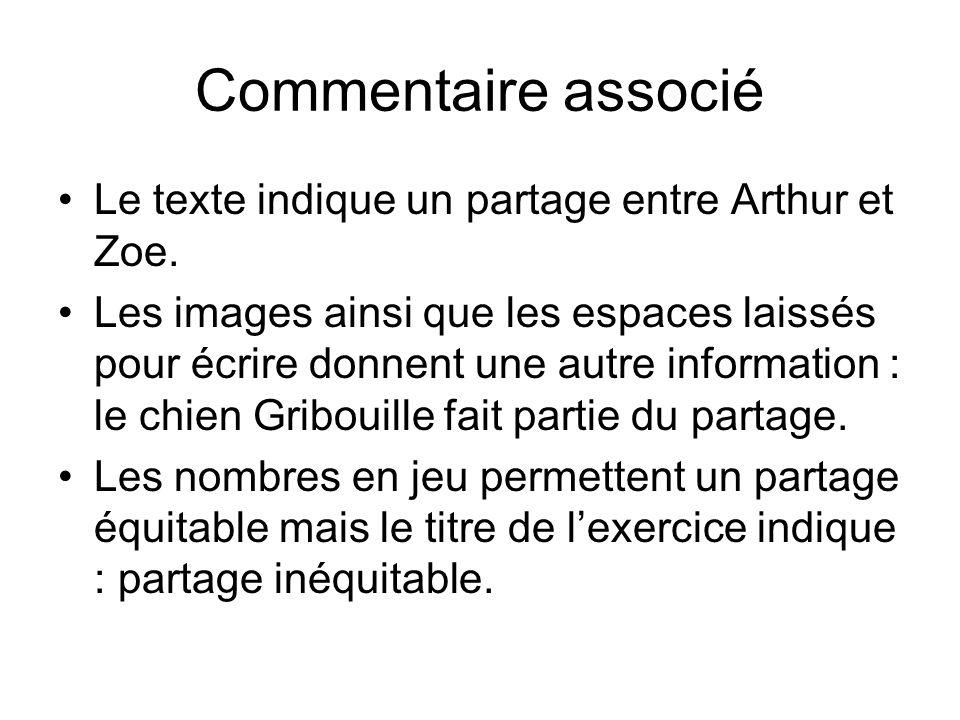 Commentaire associé Le texte indique un partage entre Arthur et Zoe. Les images ainsi que les espaces laissés pour écrire donnent une autre informatio