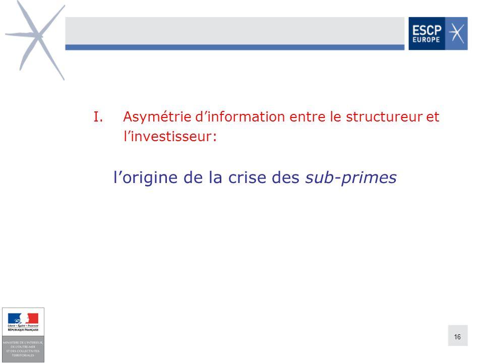 16 I. Asymétrie dinformation entre le structureur et linvestisseur: lorigine de la crise des sub-primes