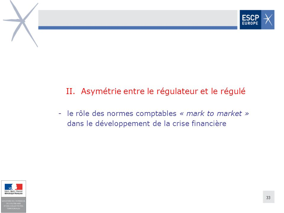 33 II. Asymétrie entre le régulateur et le régulé -le rôle des normes comptables « mark to market » dans le développement de la crise financière