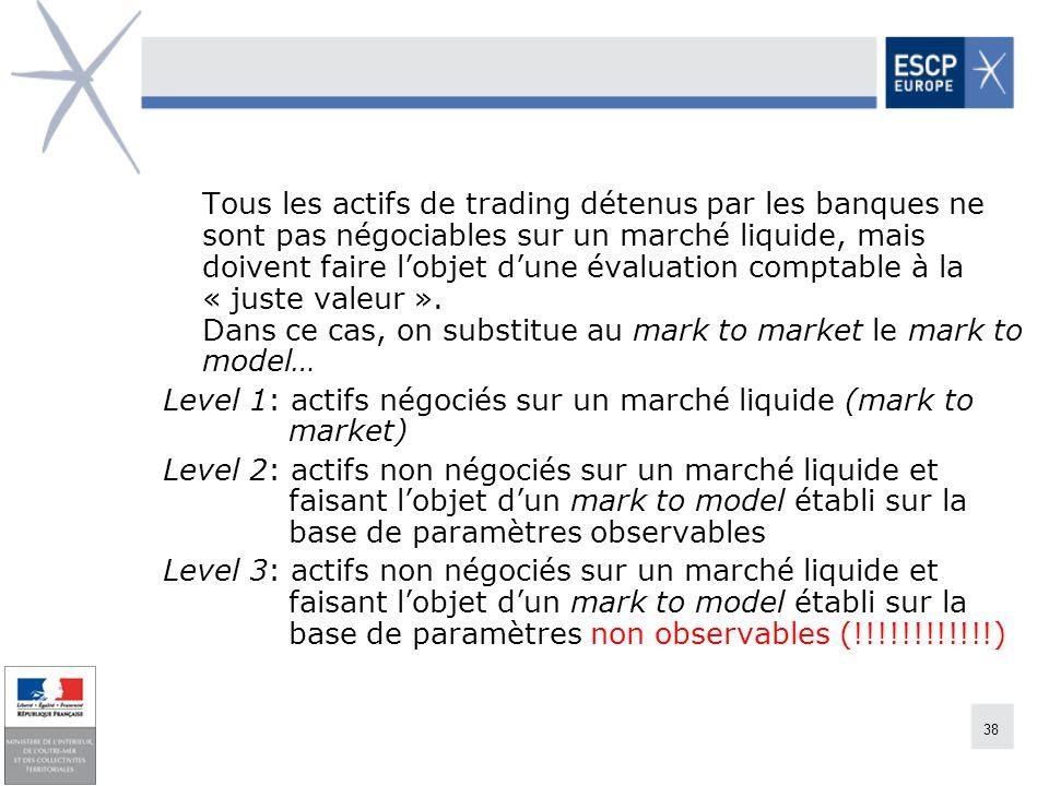 38 Tous les actifs de trading détenus par les banques ne sont pas négociables sur un marché liquide, mais doivent faire lobjet dune évaluation comptab