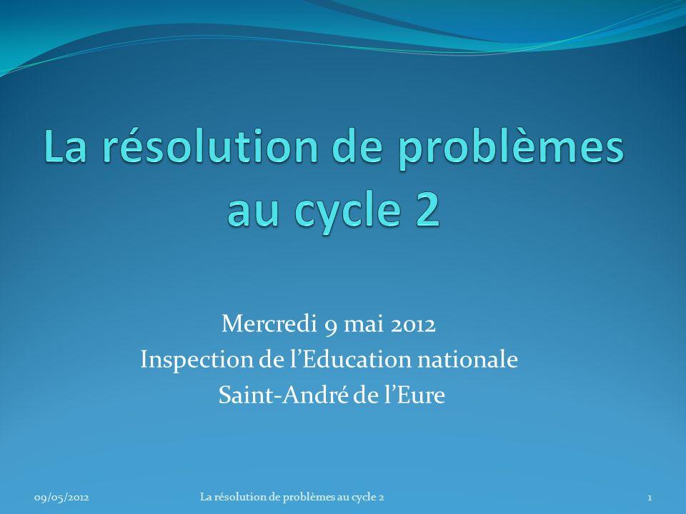 Mercredi 9 mai 2012 Inspection de lEducation nationale Saint-André de lEure 09/05/20121La résolution de problèmes au cycle 2