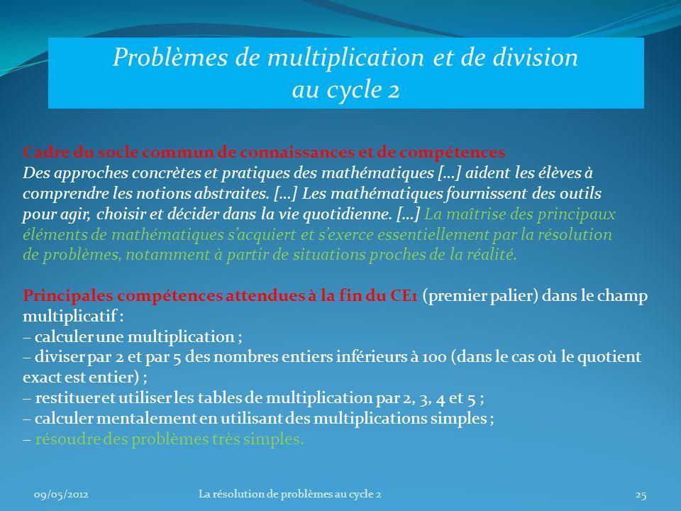 Problèmes de multiplication et de division au cycle 2 Cadre du socle commun de connaissances et de compétences Des approches concrètes et pratiques des mathématiques […] aident les élèves à comprendre les notions abstraites.