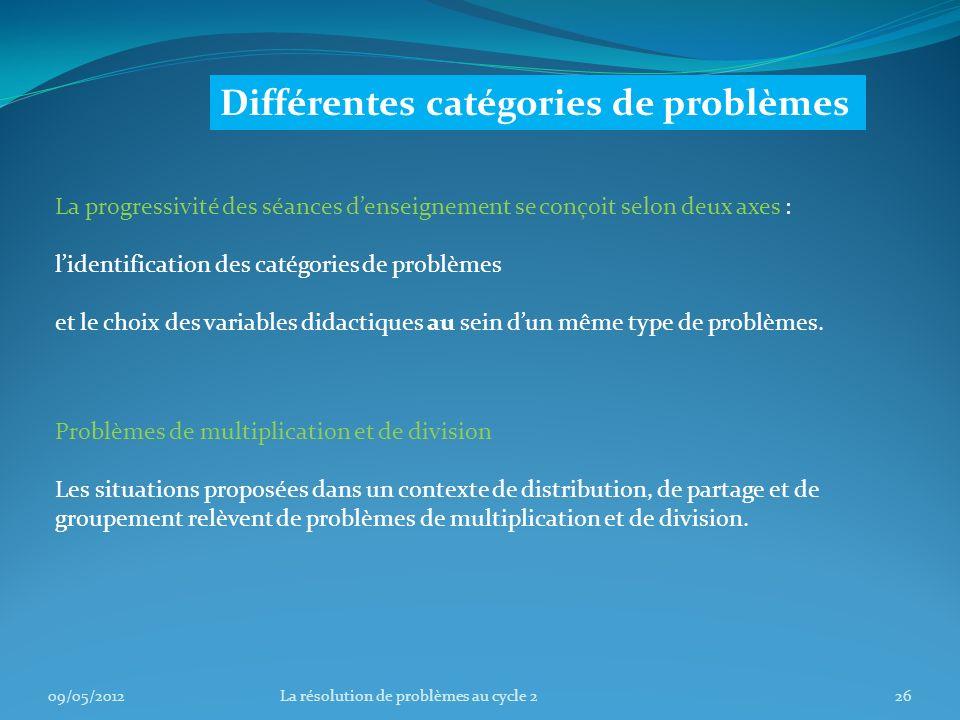 La progressivité des séances denseignement se conçoit selon deux axes : lidentification des catégories de problèmes et le choix des variables didactiques au sein dun même type de problèmes.
