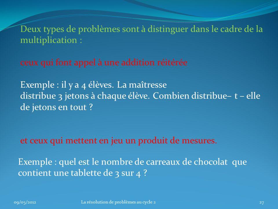Deux types de problèmes sont à distinguer dans le cadre de la multiplication : ceux qui font appel à une addition réitérée Exemple : il y a 4 élèves.