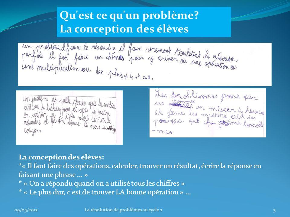 Ce que disent les programmes : 09/05/20124La résolution de problèmes au cycle 2
