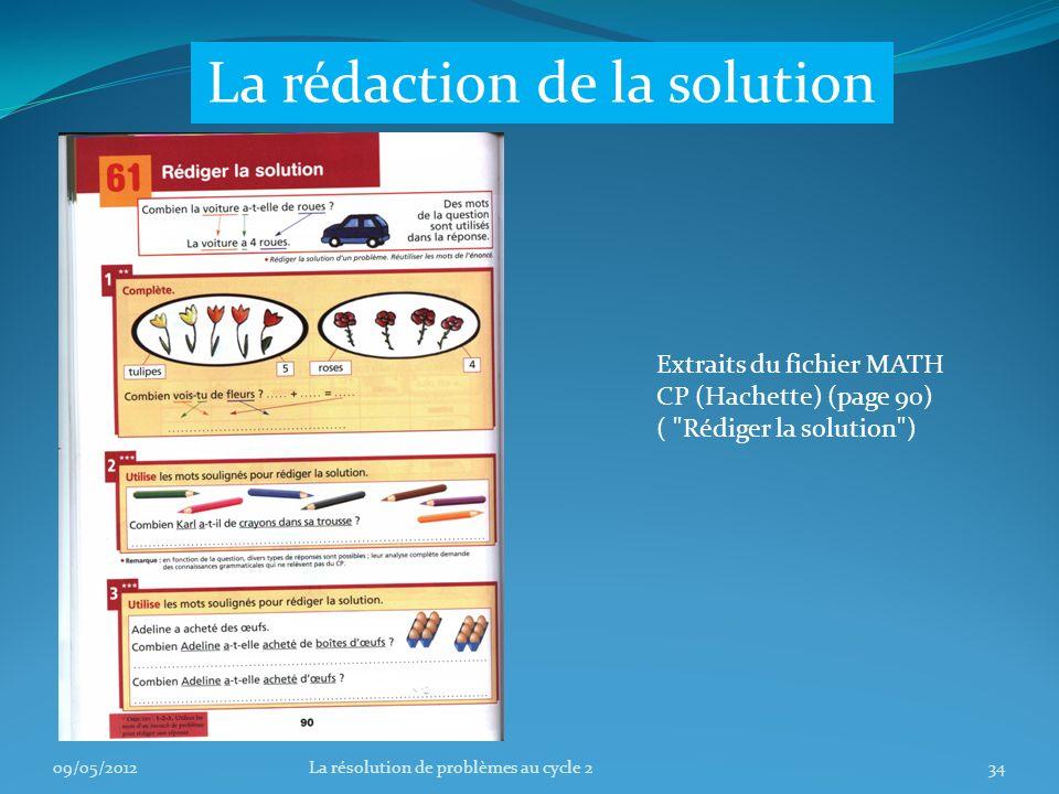 09/05/201234La résolution de problèmes au cycle 2 La rédaction de la solution Extraits du fichier MATH CP (Hachette) (page 90) ( Rédiger la solution )
