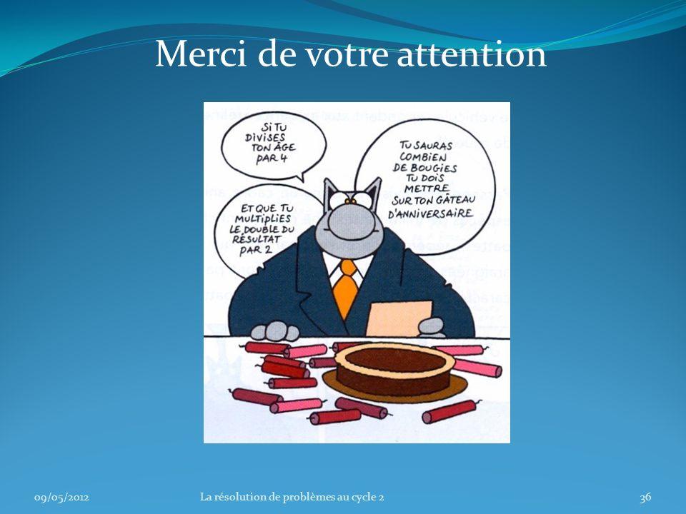 09/05/201236La résolution de problèmes au cycle 2 Merci de votre attention
