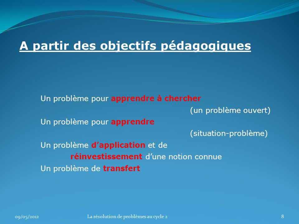 09/05/201219La résolution de problèmes au cycle 2