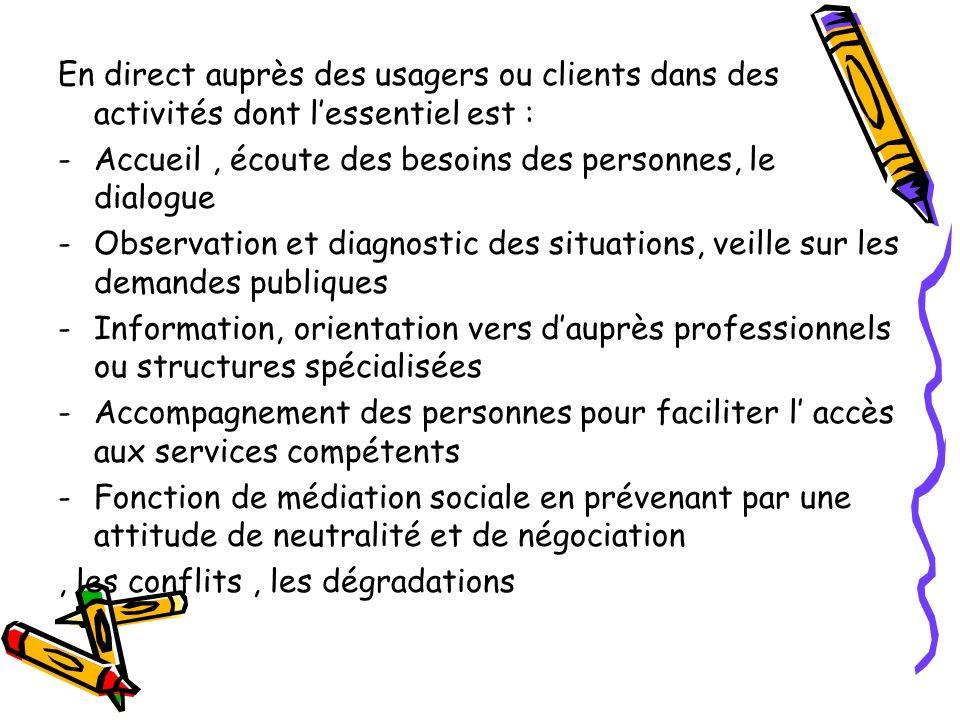 En direct auprès des usagers ou clients dans des activités dont lessentiel est : -Accueil, écoute des besoins des personnes, le dialogue -Observation