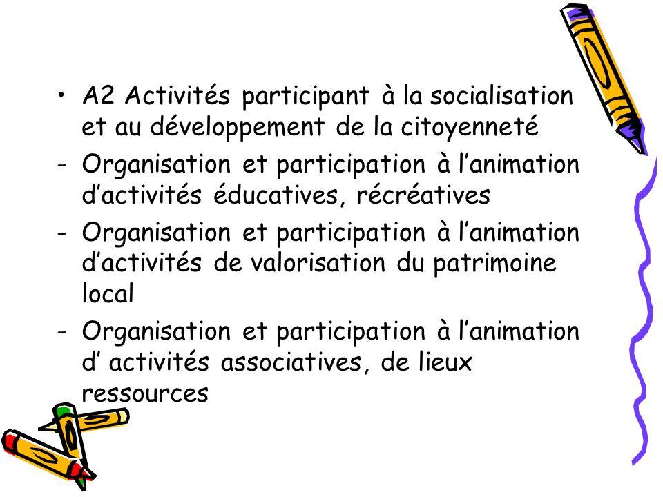A2 Activités participant à la socialisation et au développement de la citoyenneté -Organisation et participation à lanimation dactivités éducatives, r