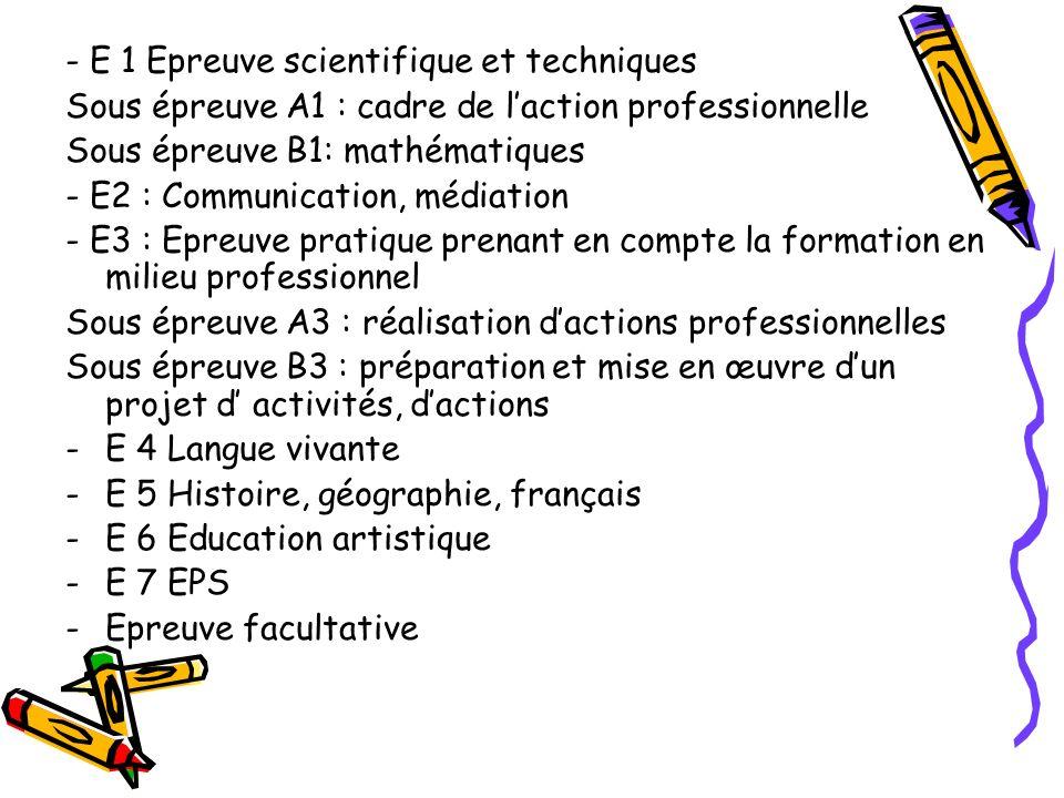 - E 1 Epreuve scientifique et techniques Sous épreuve A1 : cadre de laction professionnelle Sous épreuve B1: mathématiques - E2 : Communication, média