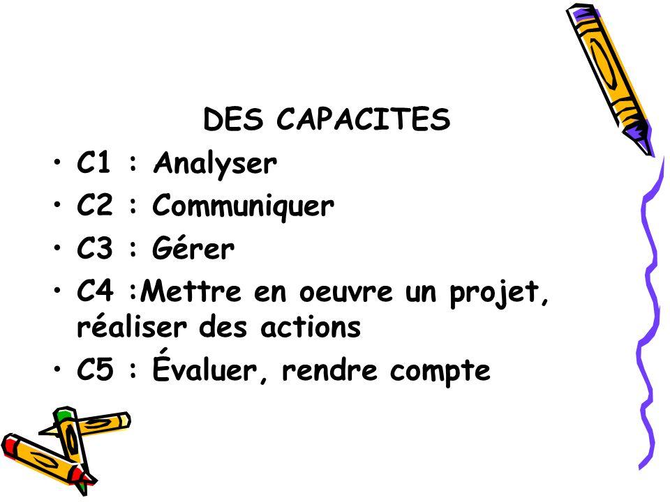 DES CAPACITES C1 : Analyser C2 : Communiquer C3 : Gérer C4 :Mettre en oeuvre un projet, réaliser des actions C5 : Évaluer, rendre compte