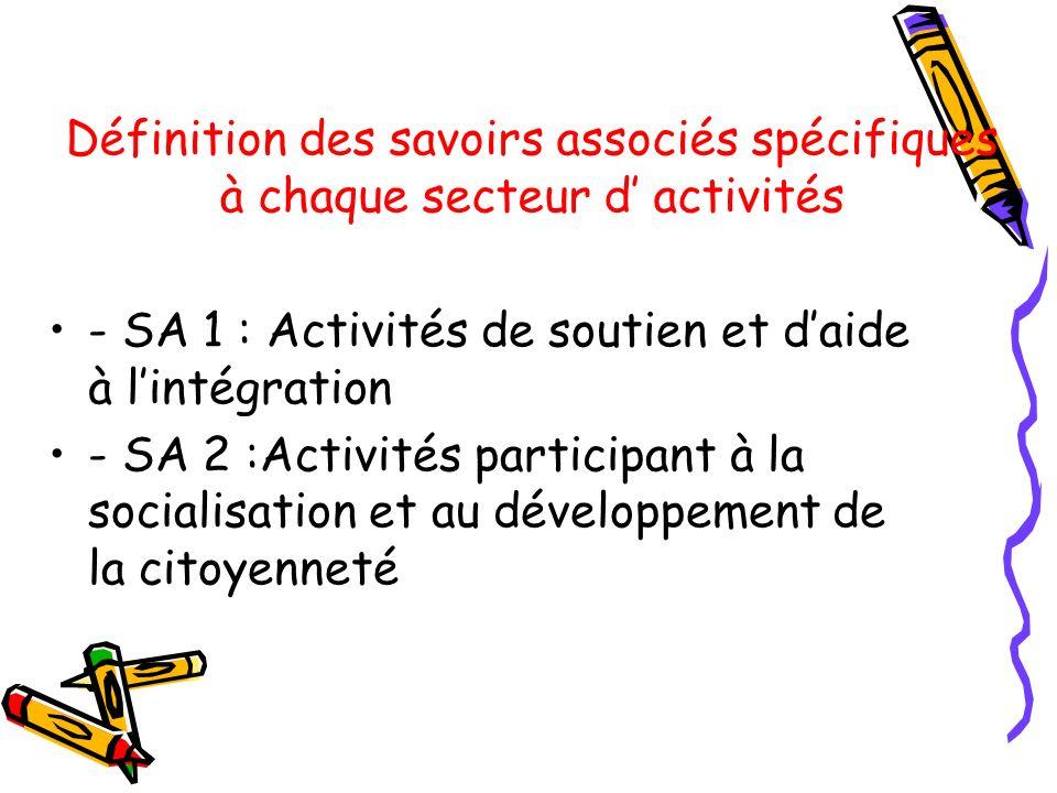 Définition des savoirs associés spécifiques à chaque secteur d activités - SA 1 : Activités de soutien et daide à lintégration - SA 2 :Activités parti